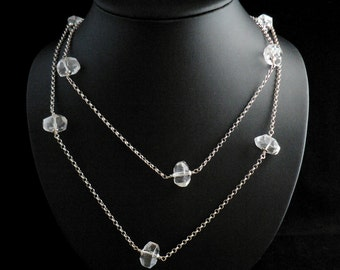 Large Faceted Chunky Beads Linked Rolo Chain Necklace in Sterling Silver