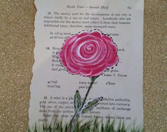 Vintage book page art with whimsical rose hand painted on it makes unique wall art