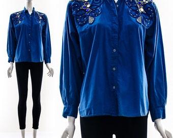 Vintage 80s Rhinestone Cowboy ELVIS Blue Button Down Long Sleeve Hipster Festival Blouse Ornate Detailing Shoulders Small Medium Oversized