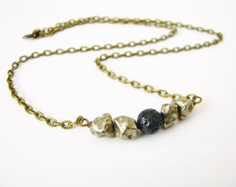 Rustic Fool's Gold Pyrite and Black Lava Stone Brass Bar Necklace