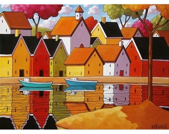 5x7 Giclee Print Folk Art Harbor Boats, Seaside Village Water Reflection Town Art Landscape Decor Archival Artwork Reproduction by Horvath