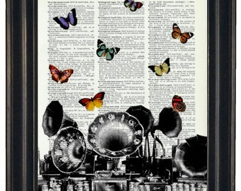 BOGO Sale Record Player with Butterflies  Dictionary Art Print with A HHP Original with HHP Signature Butterflies  Dictionary Prints