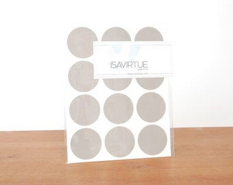 grey circle labels: circle seals, gray stickers, round labels, envelope seals set of 48