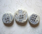 Blue City Flat Round Ceramic Beads (3)
