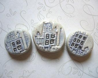Blue City Flat Round Ceramic Beads (3)
