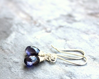 Petite Iolite Earrings Sterling Silver Blue Stone Briolette Earrings Water Sapphire