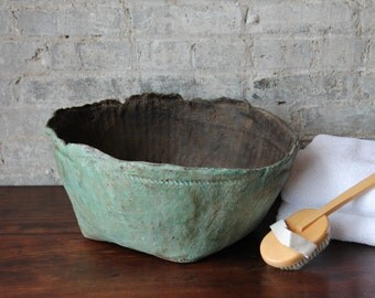 Green Leather Bowl Centerpiece Island Decor Farmhouse Style Planter Vintage Bowl Rustic Accent Coastal Indonesian