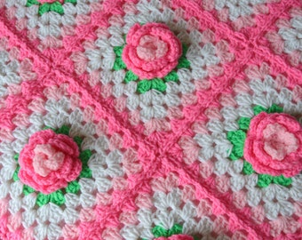 Custom Order - Rose Flower Bright Pink and Green Granny Square Patchwork Baby Granny Square Afghan Blanket Baby Shower Gift