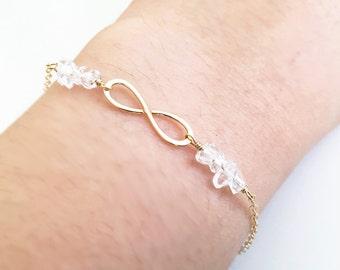 Gold Infinity Bracelet Herkimer Diamonds 14 K Gold Filled Simple Hammered Dainty Bracelet Bridesmaids Gift Crystal Grade AAA