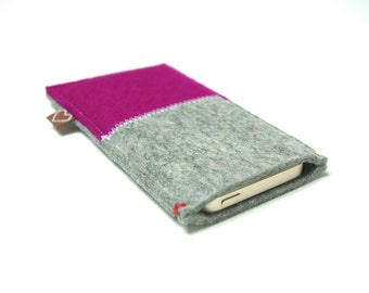 IPHONE 7 6 5 6+ 7+ SE CASE felt - Dark pink & grey - women bright purple woolfelt ecofabric ecogadget dutch design