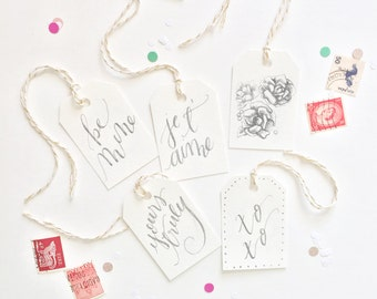 Valentine's Day Gift Tags: Nostalgic, Calligraphy Set of 5