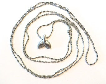 Super Long Silver Necklace Whale Tail Fluke 48 Inch by Wave of Life™