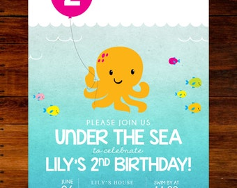 set of 15 - Under the Sea MERMAID invitations
