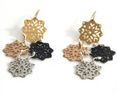 rose gold and oxidize silver earrings,statement flower earrings,dangle gold earrings, goldfield hook