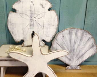 Starfish Sand Dollar Seashell Sign Beach House Decor Wall Art by CastawaysHall Set of Three