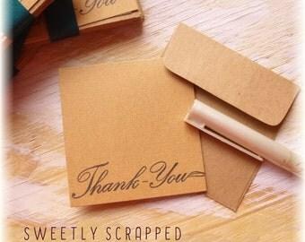THANK YOU Kraft Mini Cards .... 3 x 3, Elegant, Brown, Notecard