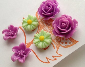 Purple and Green Flower Post Earring Set