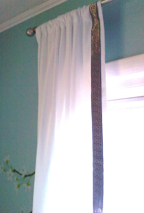 Greek Key Trim Curtains By Chesapeakecottage On Etsy