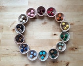 Color Sorting Set, Full Rainbow, 14 Wood Bowls with 3 Felted Wool Acorns Each, for Montessori and Waldorf Early Childhood Education