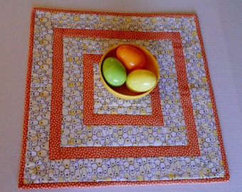 Quilted Table Topper Easter Chicks, Quilted Table Runner with Baby Chicks, Spring Table Quilt, Table Centerpiece, Yellow and Peach