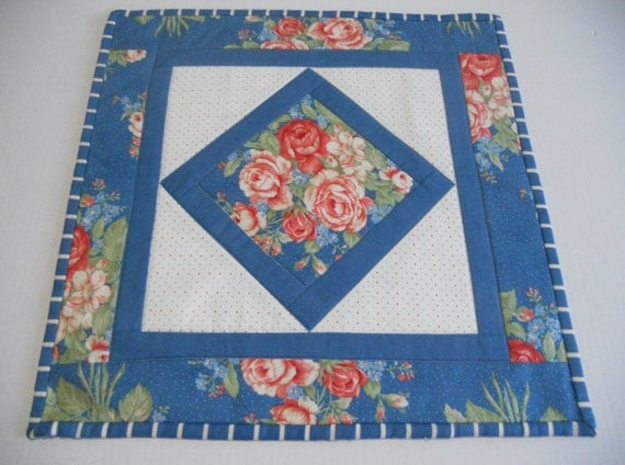 Feminine Quilted Table Topper Runner French Blue Floral Bouquet Cottage Chic