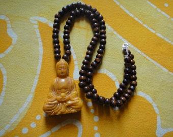 Carved Buddha Prayer Bead Necklace Quan Kuan Kwan Yin