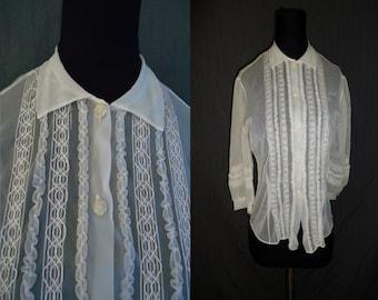 Sheer White Nylon Ruffled Vintage 1950's Womens Blouse Shirt M