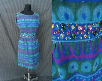 Stunning Blue & Purple SILK Vintage 1950's BEADED Sheath Dress XS S