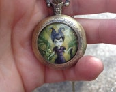Maleficent inspired pocket Watch Necklace -Horned Girl Pendant - Antique Bronze Locket