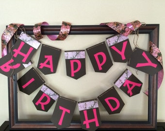 Pink camo birthday banner