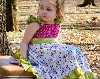 CLEARANCE!! Spring Ride Flutter Dress, Bicycle Dress, Flutter Sleeve Dress, FooFooThreads Huckleberry Dress, Ruffle Sleeve Dress,