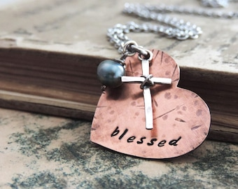 Blessed Heart Necklace - Christian Jewelry - Cross Necklace - Rustic Heart Pendant - Religious Jewelry - Inspirational Gift