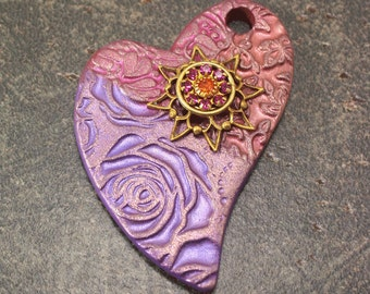 Colorful Heart Pendant Peach Purple Hot Pink Mixed Media Heart Pendant Handmade Artisan Jewelry Supplies
