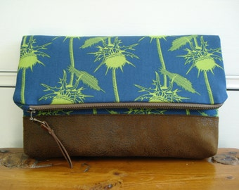 Clutch/Foldover Clutch/Cotton Print Blue Green Thistle/Vegan Leather Suede/Every Day Clutch / Made To Order