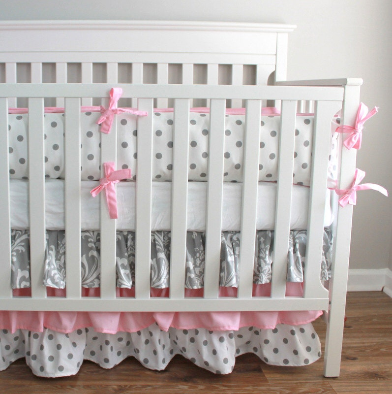 Custom Crib Bedding  2 piece Set  navy orange and gray
