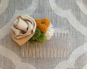 Ribbon Rose Hair Comb - Natural Mustard Green Pom-Poms