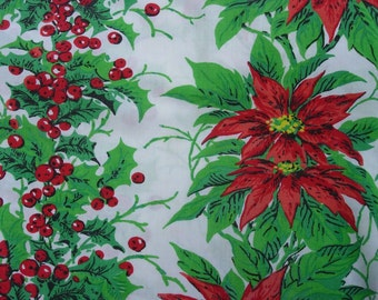 Vintage Christmas Tablecloth ~ Poinsettia and Holly
