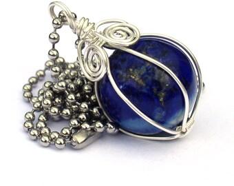 Lapis Lazuli Necklace Wire Wrap Pendant