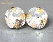 White Crystal earrings White Clear Swarovski earrings Bridesmaids icy white earrings Bridesmaids earrings gift for her Clear diamond studs