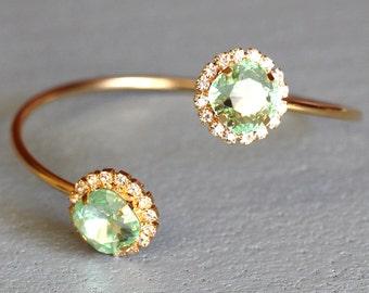 Mint Clear Bangle Bracelet, Mint Swarovski bracelet, Swarovski Bangle Bracelet, Bridal Clear Mint Bracelet, Bridesmaids Crystal Bracelets
