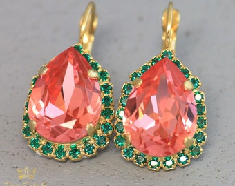 Peach Earrings, Coral Mint Earrings, Persimmon earrings, Swarovski Crystal Coral Earrings, Swarovski Drop Earrings,Peach Bridal Earrings