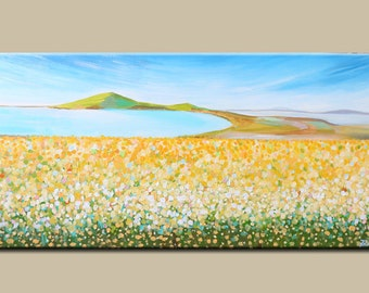 Landscape painting -Acrylic painting- abstract-Canvas Wall art - flower painting-contemporary art- Original Fine art, Artwork -yellow flower