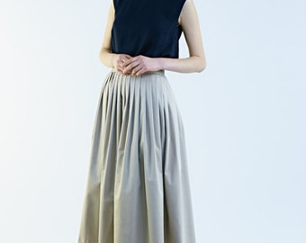 Tea Length , Midi Skirt , Pleated Skirt, Beige Skirt, Made to order skirt  by Mrs Pomeranz