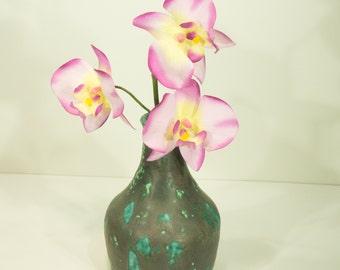 Ceramic Flower Vase, Burnt, Mottled, Blue Green, Handmade, Ash Glaze, Ornamental Vessel, Pottery Wheel, Home Decor, Gift, MJS, 207