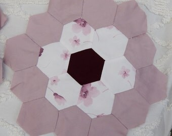 Vintage 41pcs of Hexagon Quilt Blocks Hand Stitched and Hand Sewn Cottage Chic Country Chic