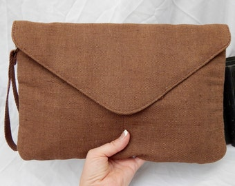 Bohemian Vintage Wristlet -- Envelope clutch -handbag--Heavy Linen  --Tablet Pc Holder --iPad Holder--Vegan