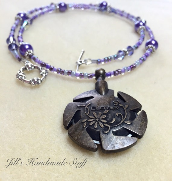 purple yarn cutter necklace knitters necklace gift for