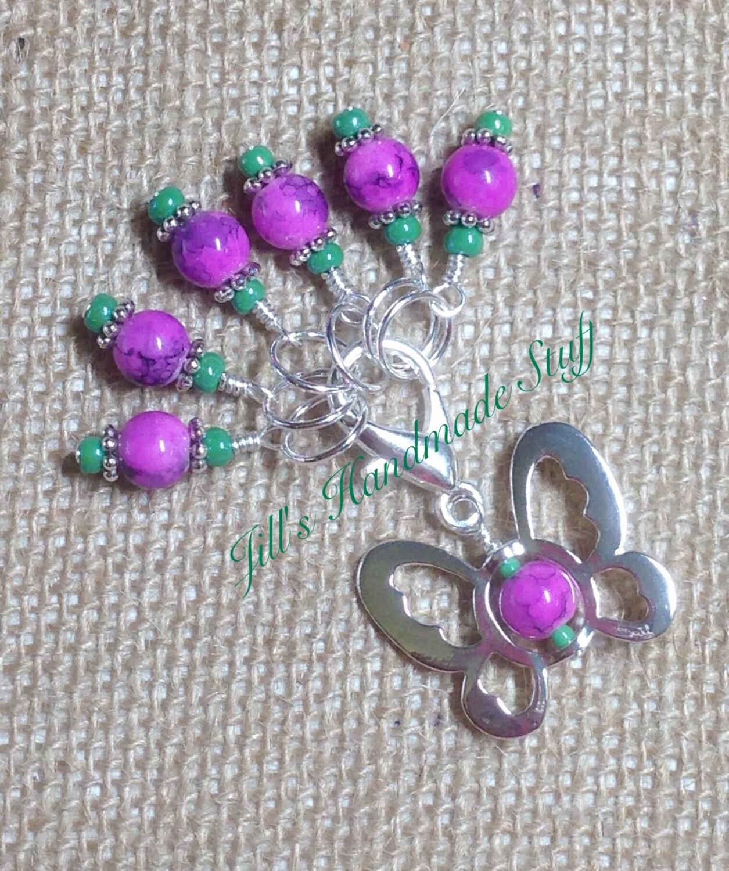 Knitting Lifeline With Stitch Markers : Knitting Stitch Markers & Butterfly Stitch Marker Clip Beaded