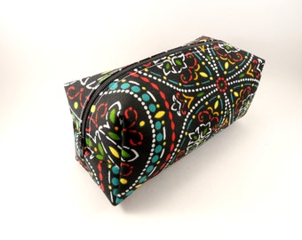 Black and Neon Flower Swirl  Makeup Bag, Gadget Case, Under 15, Pencil Case, Medium, Zippered, Cosmetic Case, For Her
