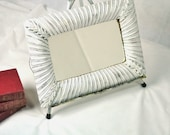 Antique White Wall Mirror Distressed Ornate Gold Backing Small Rectangular Cottage Chic Decor